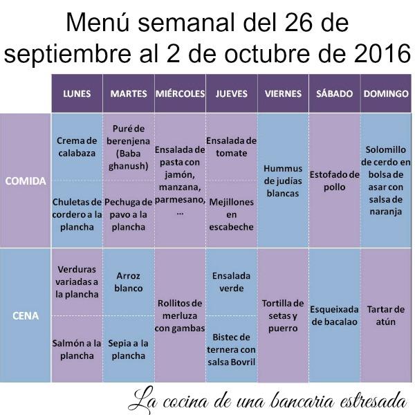 Men semanal del 26 de septiembre al 2 de octubre ya for Menu semanal verano