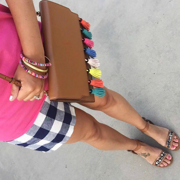 plaid shorts, jewel sandals