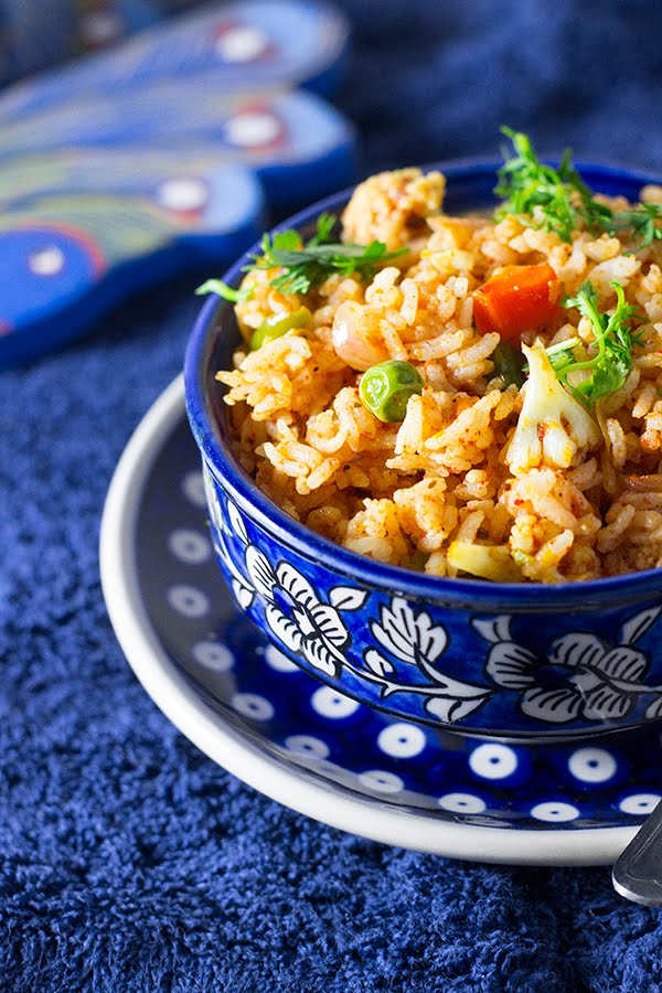 Tava pilaf pav bhaji mumbai street food masala rice tomato