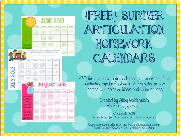 Schoolhouse Talk! Summer Speech Activity Calendars