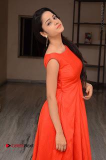 Telugu Actress Divya Nandini Stills in Orange Sleeveless Gown at Chennai Chaitrama Movie le Launch Event  0019.JPG