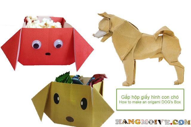 Hướng dẫn cách gấp xếp hộp giấy đựng đồ hình con chó bằng giấy origami - How to make an origami dog's box