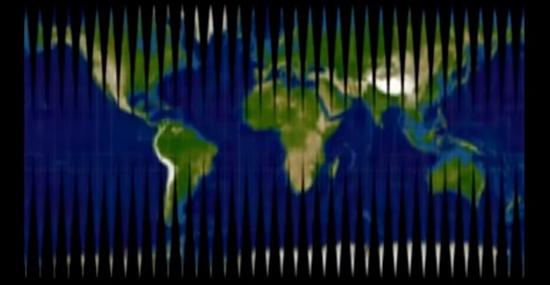 Mapa-múndi com recortes devido ao formato esférico