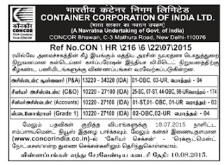 ONLINE Applications are invited for Assistant and Stenographer vacancies in Container Corporation of India