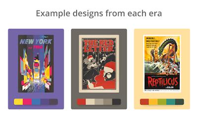 Ejemplo de diseños y paletas de color de diferentes épocas