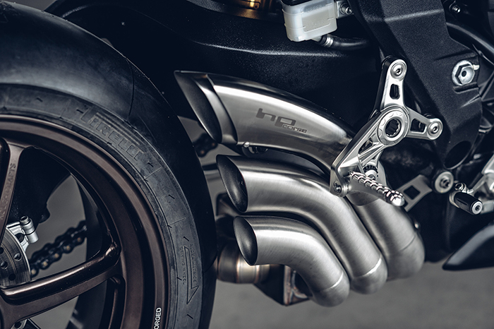 Custom exhaust on MV Agusta Ballistic Trident