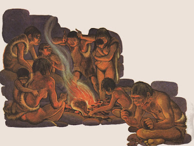 Cavernícolas narrando historias de caza en el paleolítico