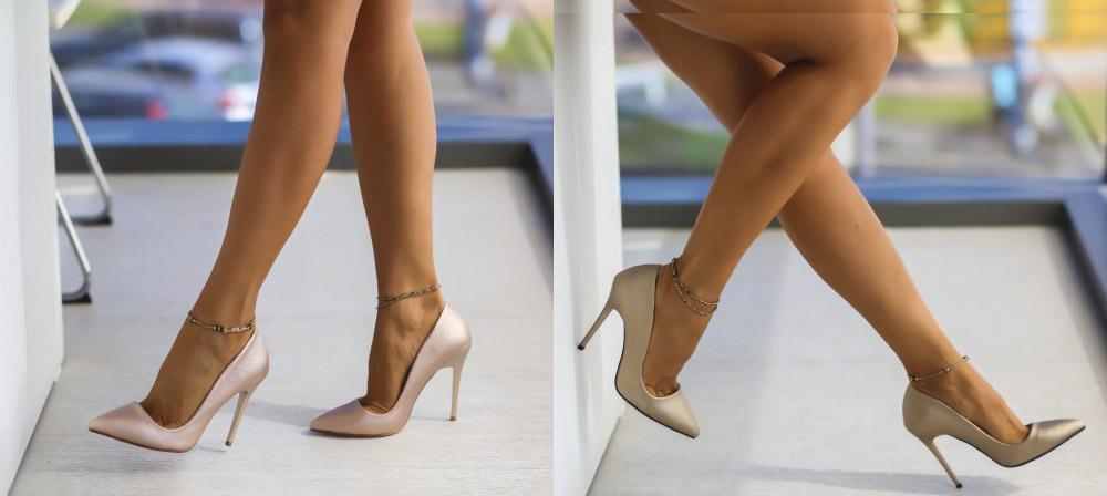 Pantofi roz, khaki de ocazie cu toc subtire inalt ieftini la moda