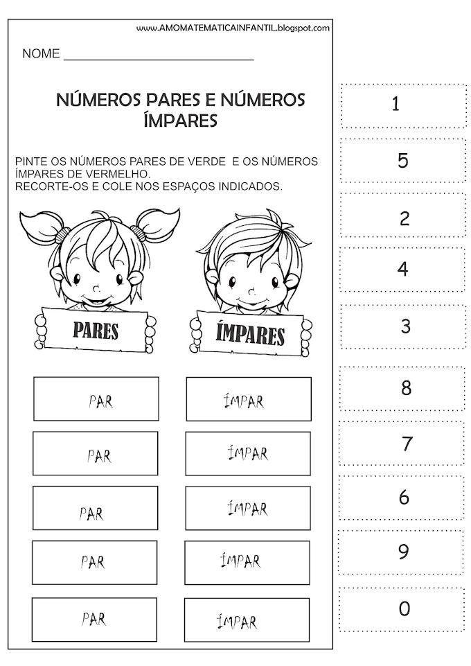 Atividade Números Pares e Ímpares Alfabetização Inicial