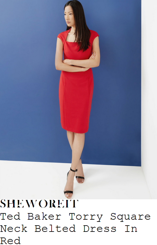 susanna-reid-ted-baker-torry-bright-red-cap-sleeve-curved-square-neckline-tailored-pencil-dress