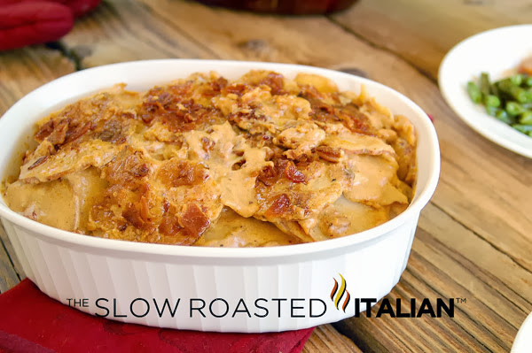 http://www.theslowroasteditalian.com/2012/08/bacon-cheddar-beer-potatoes-au-gratin.html