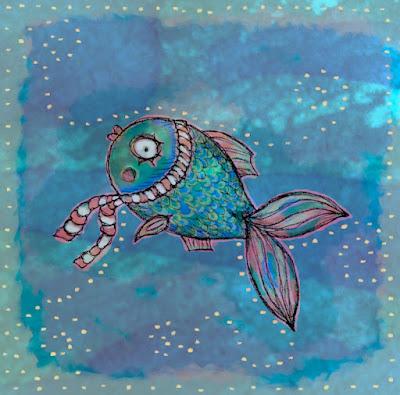 Illusztráció modern állatmeséhez, kék-zöld pikkelyes, piros csíkos sálas aranyhal úszik az éjszakai, csillagokat tükröző vízben a halász felé.