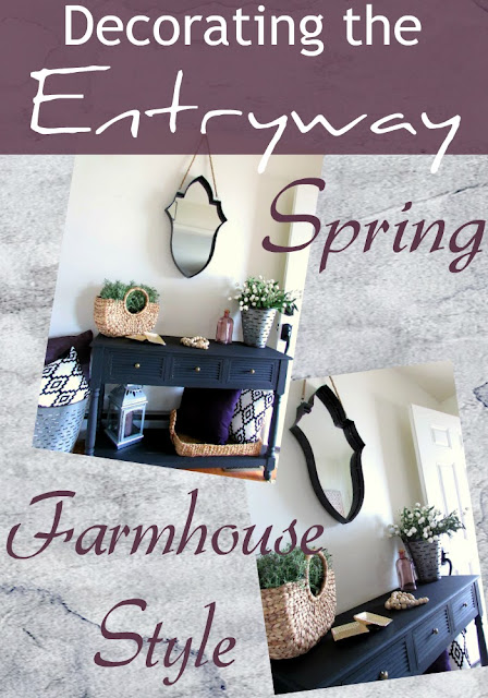 Decorating the entryway or foyer with farmhouse rustic style for Spring.