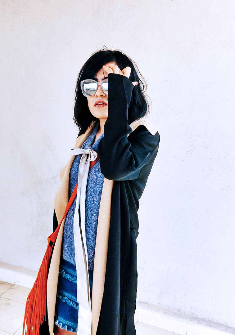 v-neck sweatervest,blue A-line denim skirt,suede bag,style blog