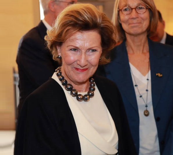 Queen Sonja attended the opening of Forces of Nature exhibition held at National Ceramics Museum in Sèvres. fashion, style of Sonja