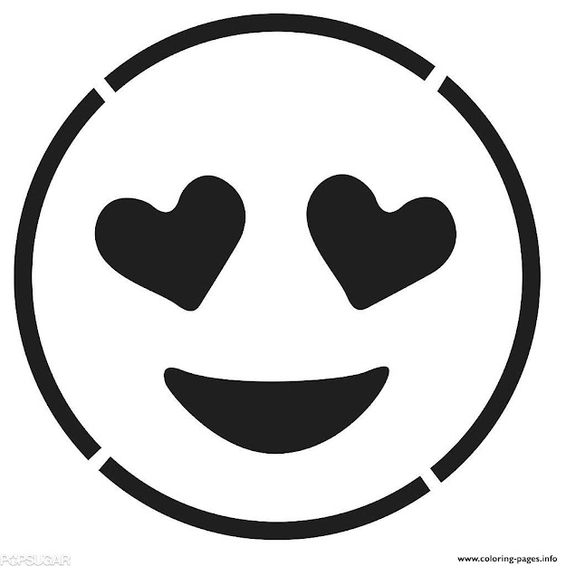 Laughing Face Emoji Black And White Smiling Face With Hear Coloring Pages  Printable