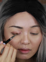 Use the #caramelized color from middle lid to outer corner of the eyes