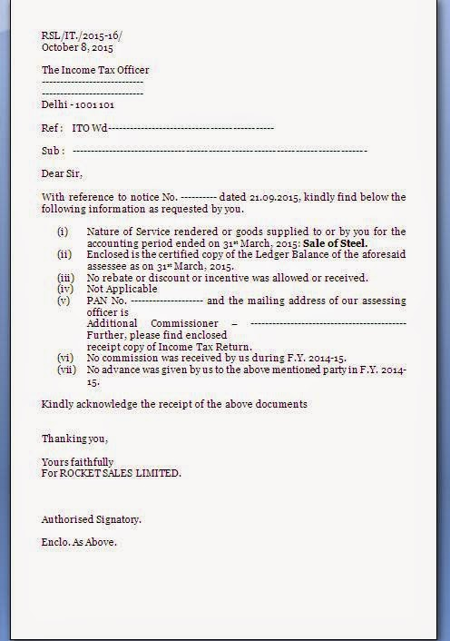 income tax notice reply letter format