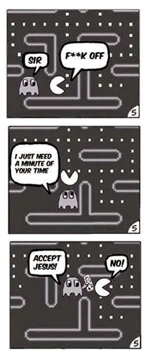 Funny Pacman Christian Evangelism Joke Cartoon Picture