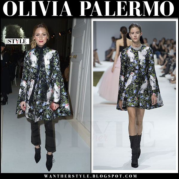 Olivia Palermo in floral and bird print cape giambattista valli, black cropped pants and black ankle boots givenchy what she wore haute couture week