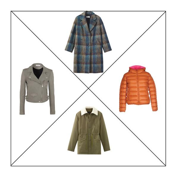 Серая косуха, пальто в клетку, оранжевая куртка, парка цвета хаки для капсульного гардероба в повседневном стиле Casual