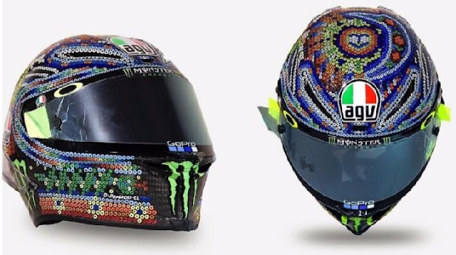 Helm AGV Pista GP R memiliki desain yang terinspirasi oleh simbol dan warna tradisi Meksiko