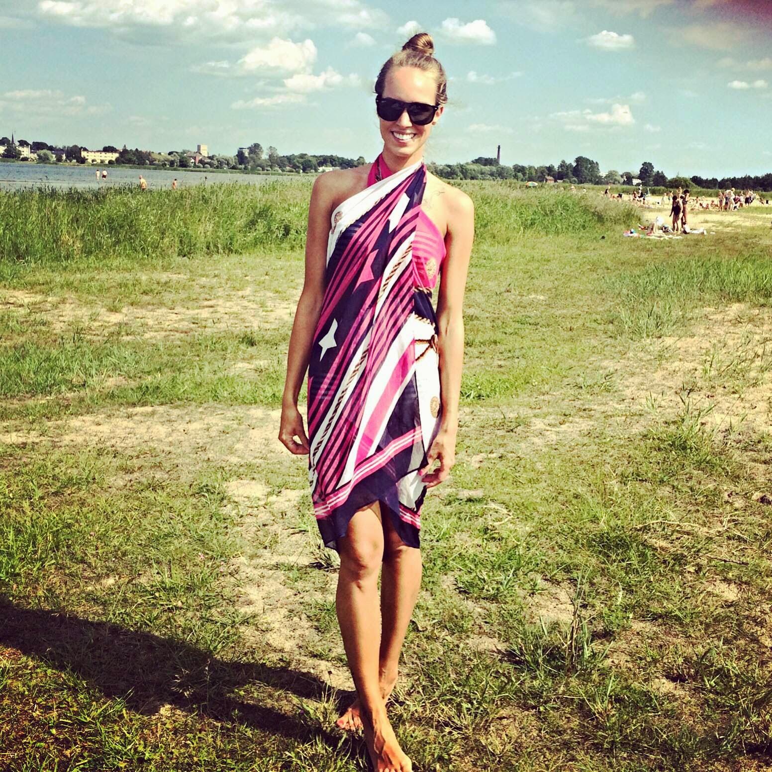 pink purple beach bikini cover up tunic scarf