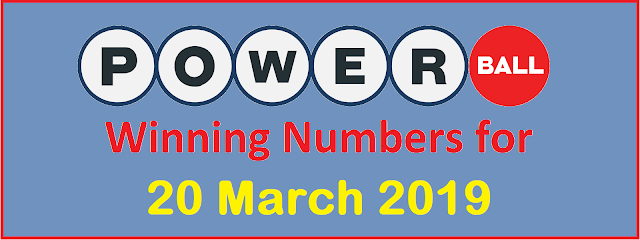PowerBall Winning Numbers for Wednesday, 20 March 2019
