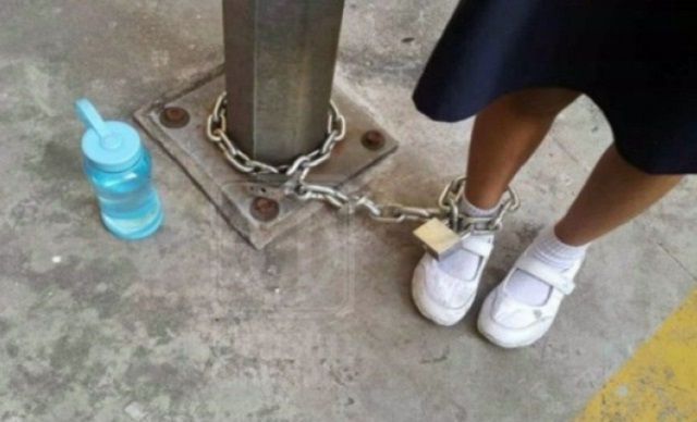 Polis Ambil Keterangan Wanita Rantai Kaki Anak