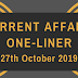 Current Affairs One-Liner: 27th October 2019