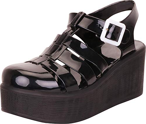 f1dfb514f2743 The best Cambridge Select Women's Retro 90s Cutout Caged Chunky Flatform  Jelly Sandal,5.5 B(M) ...