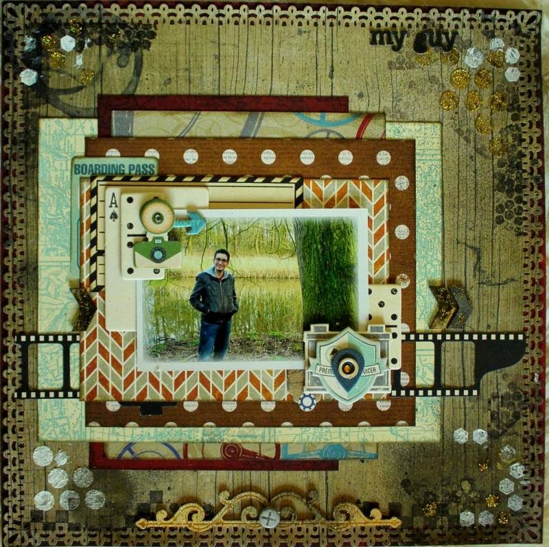 My Guy Scrapbook Page by Romy Veul using BoBunny Wild Card Collection