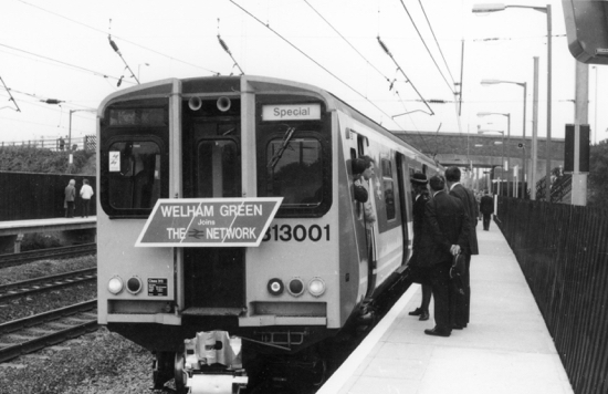 Photograph of The first train bound for King's Cross from Welham Green at the opening of the station on September 29, 1986