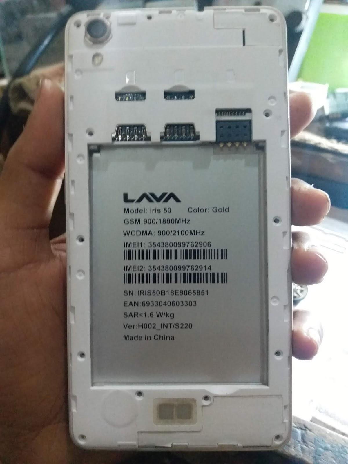 Lava Iris 50 S220 Frp Hang Logo Lcd Fix Firmware Flash File