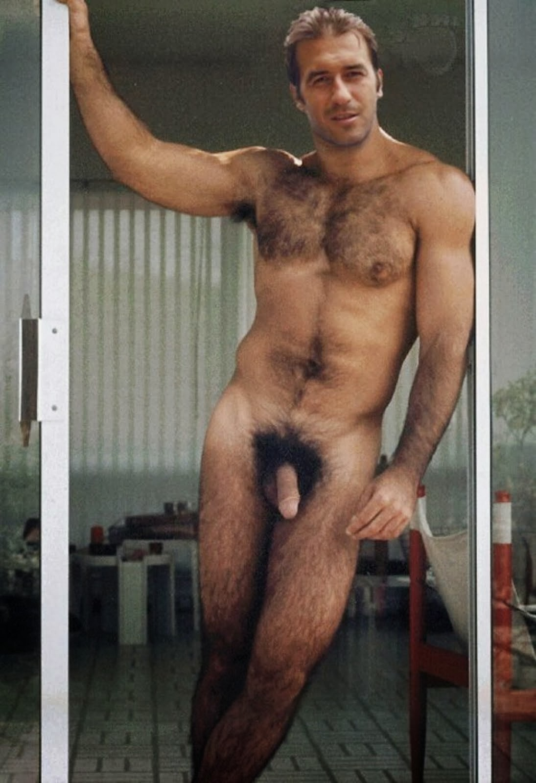 Accept. very hairy naked man something