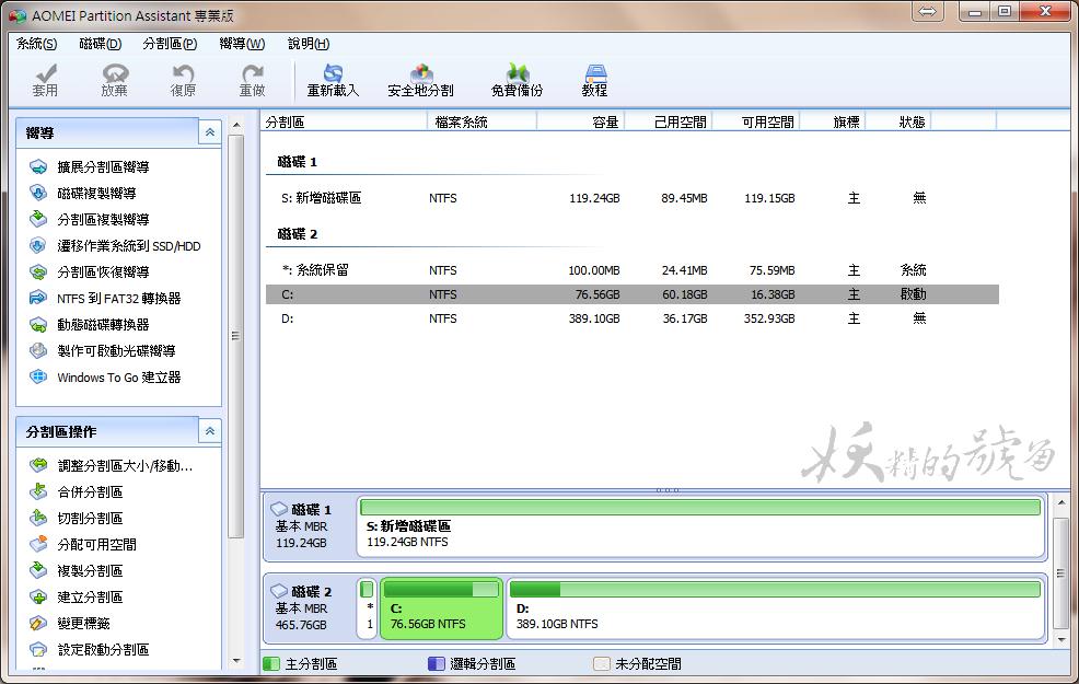 1 - [教學] AOMEI Partition Assistant - 分區助手繁體中文版,將HDD硬碟的系統搬移到SSD上的好幫手