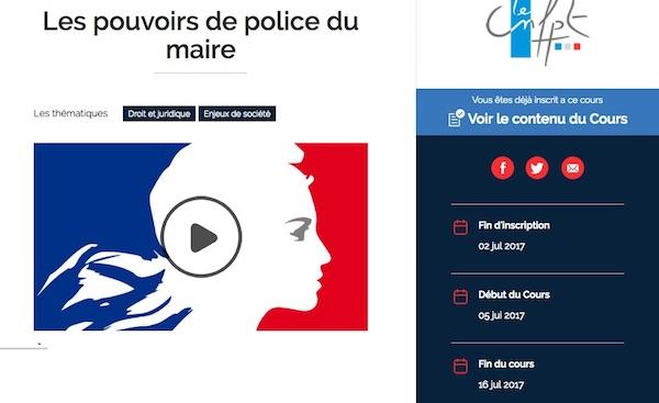 Capture d'écran de présentation du Mooc les pouvoirs de police du maire