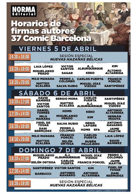 Horario de firmas ACTUALIZADO de Norma Editorial en el 37 Cómic Barcelona.