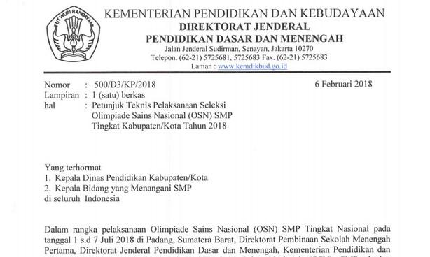 Petunjuk Teknis Pelaksanaan Seleksi Olimpiade Sains Nasional (OSN) SMP Tingkat Kabupaten/Kota Tahun 2018