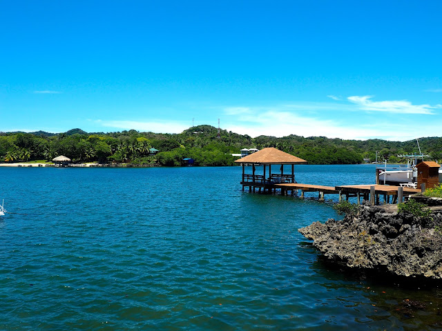 Ocean view, with wooden dock, from West End, Roatan Island, Honduras