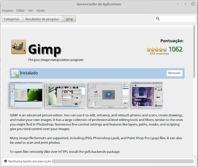 GIMP na Central de Apps no Linux Mint