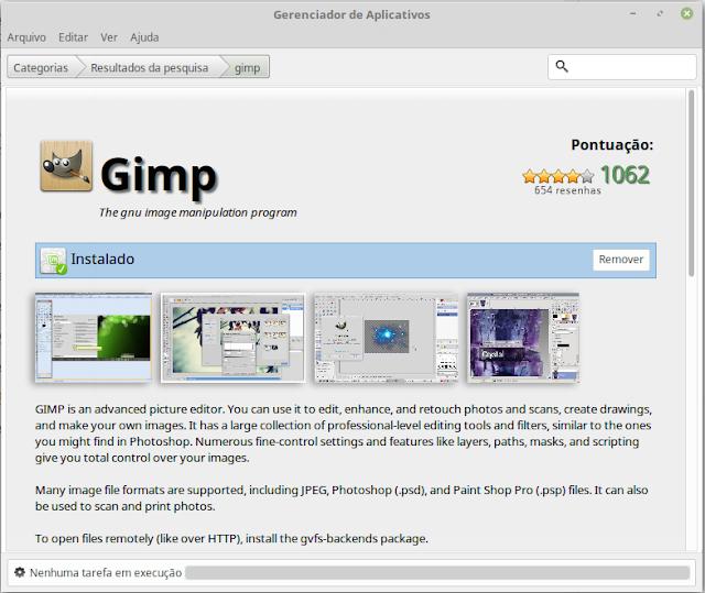 GIMP na Central de Apps no Linux Mint