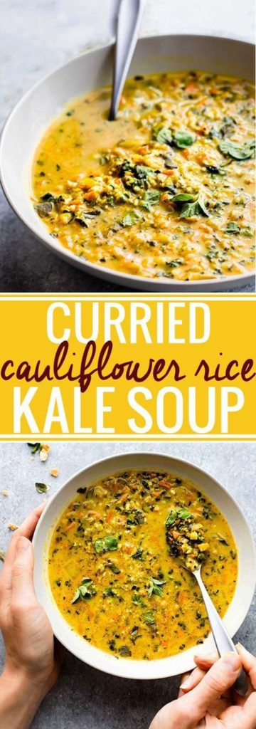 Captivating Curried Cauliflower Rice Kale Soup