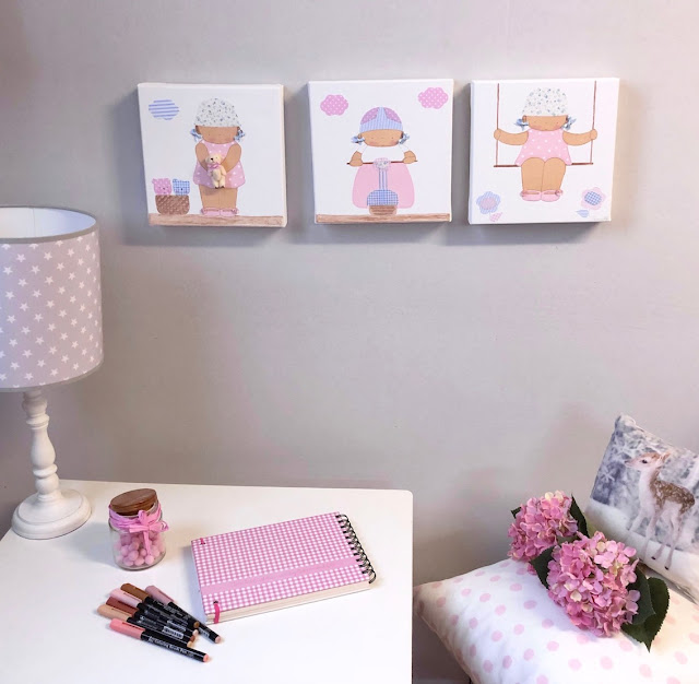 Ideas para decorar una pared infantil :cuadros infantiles pintados a mano
