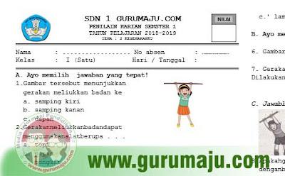 Soal Ulangan Harian ( UH ) PJOK Kelas 1 Tema 3 Kurikulum 2013 Tahun 2018