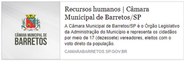 Relação de cargos e salários dos servidores e assessores da Câmara Municipal de Barretos-SP, tem servidor ganhando R$ 24.415,72 que é maior que os vencimentos do Prefeito