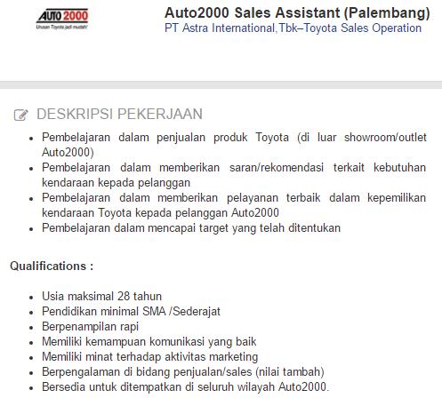 Loker PT Astra International,TbkTerbaru November - Desember 2020