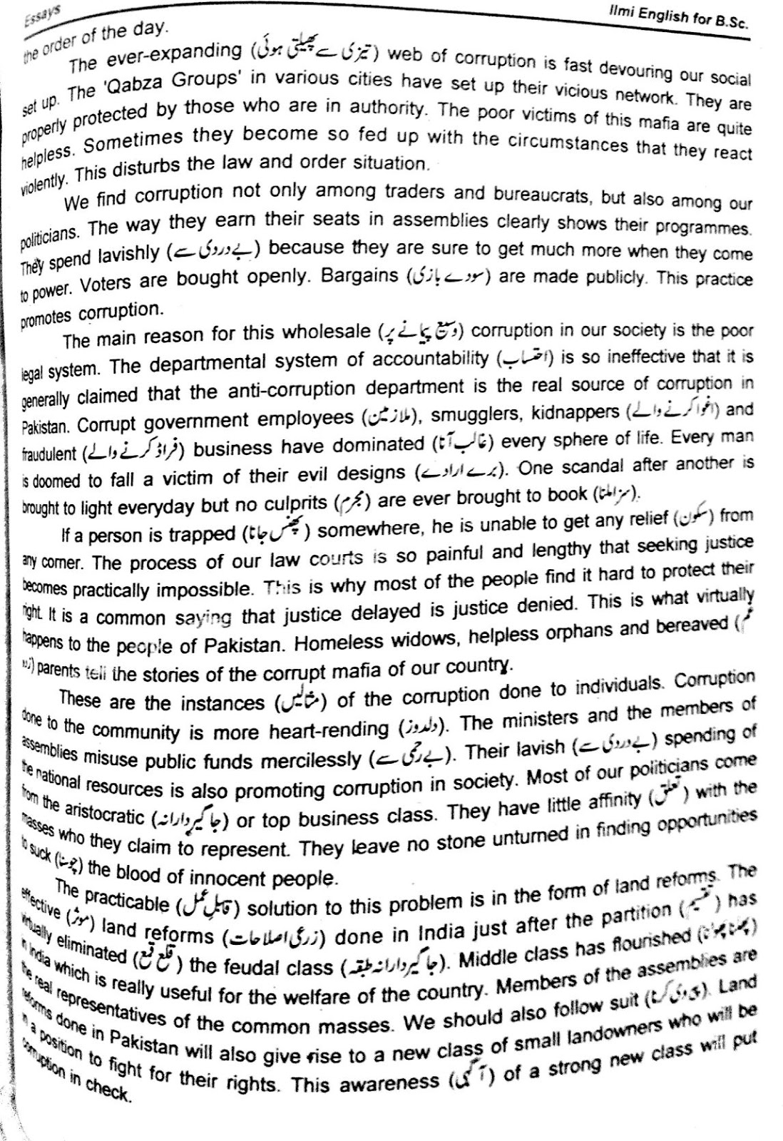 Essay on corruption in simple english