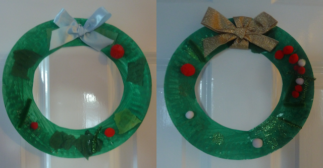 Christmas wreath from a paper plate craft