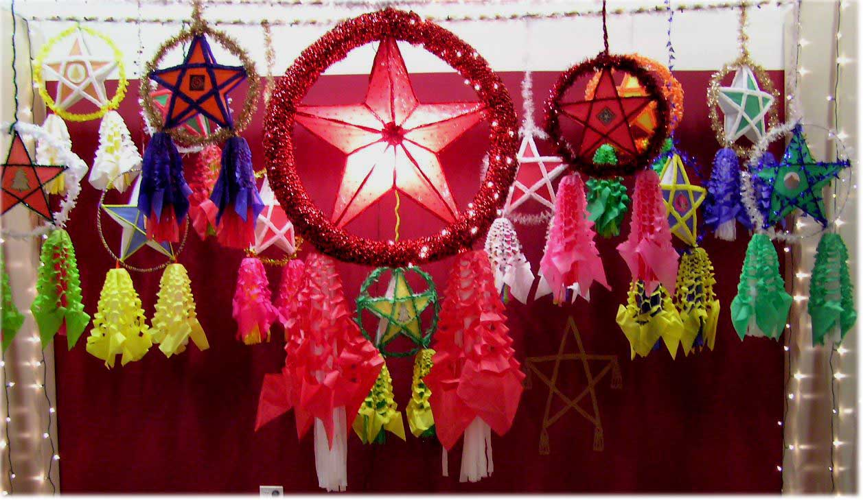 parol a five point star shaped christmas lantern is a traditional filipino christmas decoration originally it is made of thin bamboo frames and covered - Filipino Christmas Star